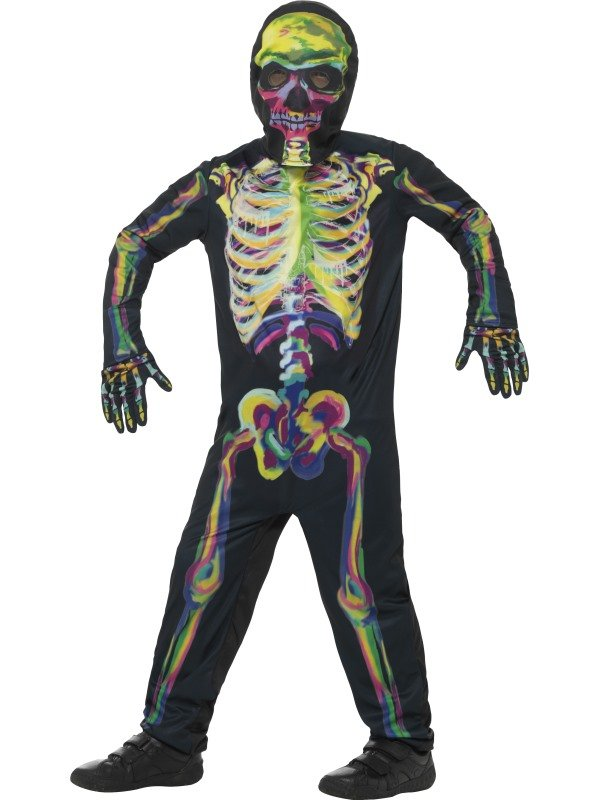 Met dit Multi Gekleurde Glow in the Dark Skeleton Kostuum sta jij gegarandeerd in de spotlights tijdens jouw Halloween Party.Dit kostuum bestaat uit een jumpsuit met masker en handschoenen.