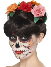 Day of the Dead Frida pruik met bloemen