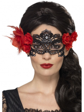 Day of the Dead kanten Oogmasker rood