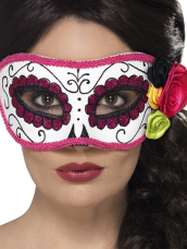Day of the Dead Oogmasker Wit Roze