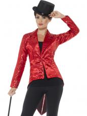 Sequin Tailcoat Jacket, Dames Rood