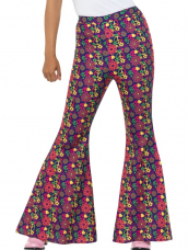 60s Psychedelic CND Flared Trousers, Ladies