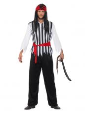 Compleet zwart wit piraten kostuum