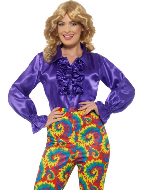 Satin Ruffle Shirt, Dames Paars