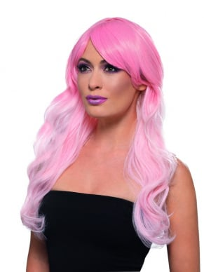 Fashion Ombre Pruik, Wavy, Long, Pink, Heat Resistant/ Styleable.