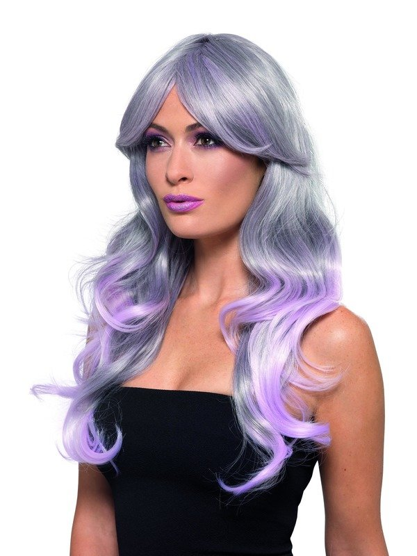 Fashion Ombre Pruik, Wavy, Long, Grey & Pastel Pink, Heat Resistant/ Styleable.