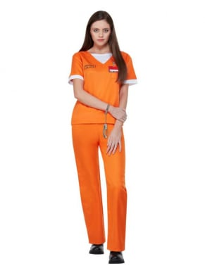 Bekend van de netflix hitserie Orange is The New Black, dit te gekke oranje Prison Uniform, bestaande uit de Top, broek, handboeien en ID Badge. Perfect voor Carnaval.
