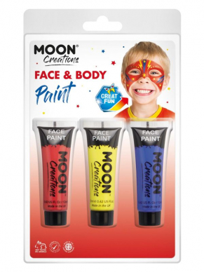 Moon Creations Face & Body Paint Rood/Geel/Blauw