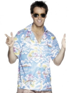 Lichtblauw Hawaii Heren Shirt.