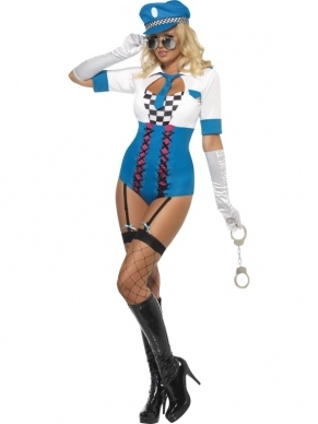 Fever Sexy Pop Police Dames Verkleedkleding. Inbegrepen is de sexy bodysuit en de pet.