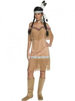 Western Authentic Indian Lady Verkleedkleding. Inbegrepen is de mooie jurk met franjes met mooie details.