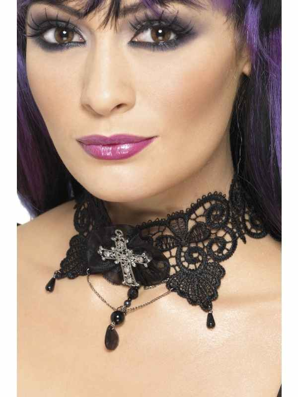 Brochure Omschrijving: Gothic Lace Choker, Black, Ornate with Jewelled Cross, in Display PackWeb Omschrijving: Gothic Lace Choker, Black, Ornate with Jewelled CrossWasinstructie: Not ApplicableVerpakking: in Display PackOverige:Waarschuwingen: ASSeizoensgebonden: YesLicenties:Formaat: One Size