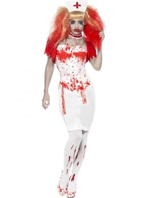 Blood Drip Nurse Zuster Halloween Kostuum