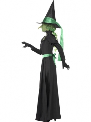 Wicked Witch Heksenkostuum Halloween. Inbegrepen is de lange heksenjurk met groen zwarte Heksenhoed.