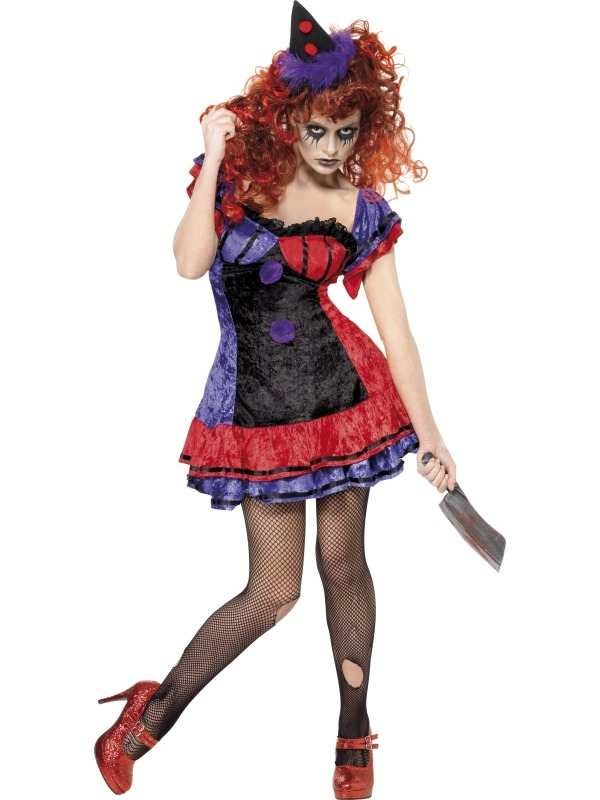 Circus Sinister Clown Dames Halloween Kostuum. Inbegrepen is de Clown Jurk en het Hoedje.