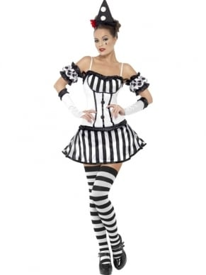 Fever Clown Mime Diva Halloween Dames Kostuum