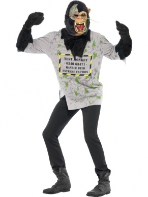 Mutant Monkey Enge Aap Heren Kostuum Halloween. Inbegrepen is het shirt met de harige apen armen en het latex apen masker. Eng horror kostuum voor Halloween.