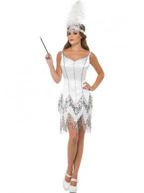 Fever Flapper Dazzle Wit Dames Kostuum