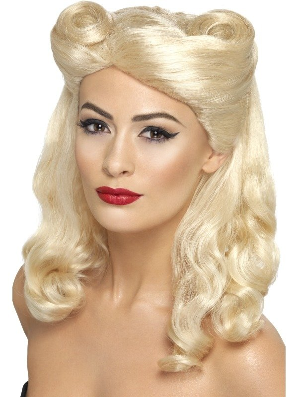 1940's Pin Up Blonde Pruik met Victory Rolls.