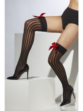 Zwarte Sheer Hold-Ups met Strepen en Rode Strik