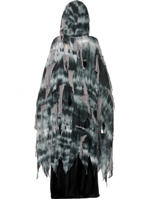 Grijze Gothic Manor Ghost Halloween Cape met Hoody.