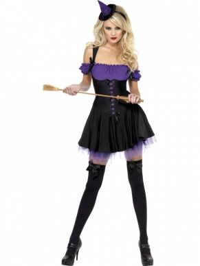 Fever Wicked Witch Paars Dames Halloween Kostuum