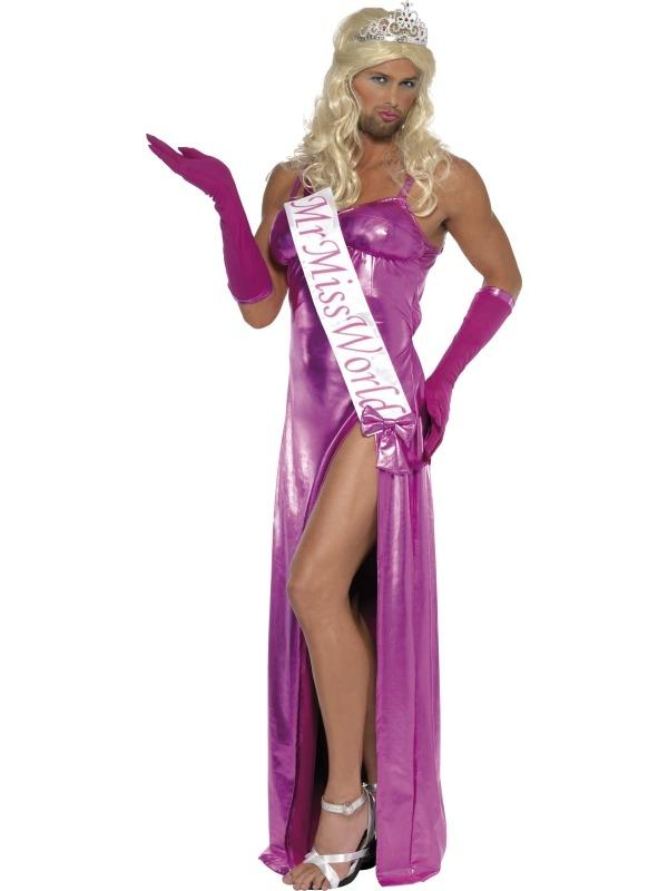 Mr Miss World Heren Verkleedkleding. Geweldig Heren Verkleedkleding: Mister Miss World met Lange Roze jurk, handschoenen en sjerp met: Mr Miss World.