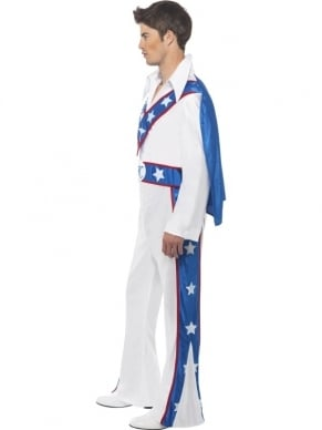 Evel Knievel Heren Verkleedkleding. Inbegrepen is de All in one Jumpsuit met Cape.