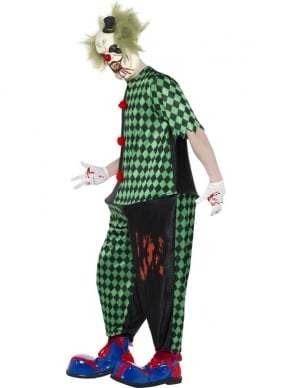 Scary Fat Clown Heren Verkleedkleding. Ingebrepen is de jumpsuit met hoepel (waardoor het kostuum dik lijkt maar toch lekker zit), masker met hoed en haar. Compleet kostuum.