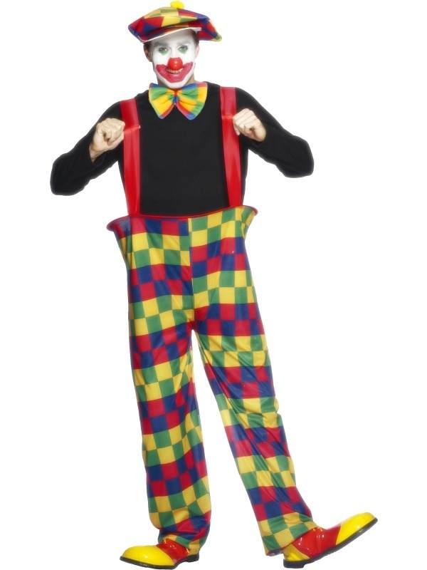 Happy Clown Heren Verkleedkleding. Inbegrepen is de gekleurde broek met hoepel en bretels, de pet en de grote strik.